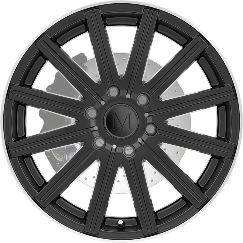 STARK MATTE BLACK W/MACHINE LIP EDGE - Large Front
