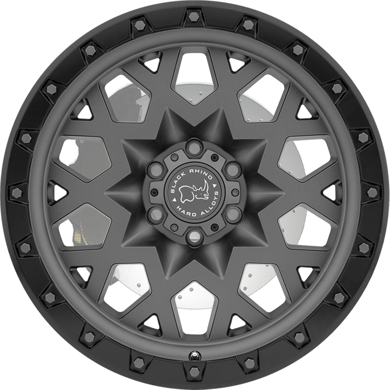 SPROCKET MATTE GUNMETAL W/BLACK LIP EDGE (GUNMETAL BOLTS) Front